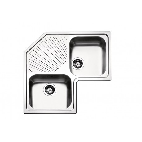 Lavello angolare ROAN2IBC - 2 vasche + gocciolatoio 83*83*50 cm