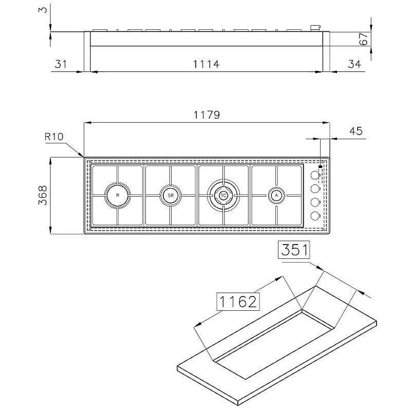 Piano cottura lineare 4 bruciatori da incasso Foster 7250032 | Fidea