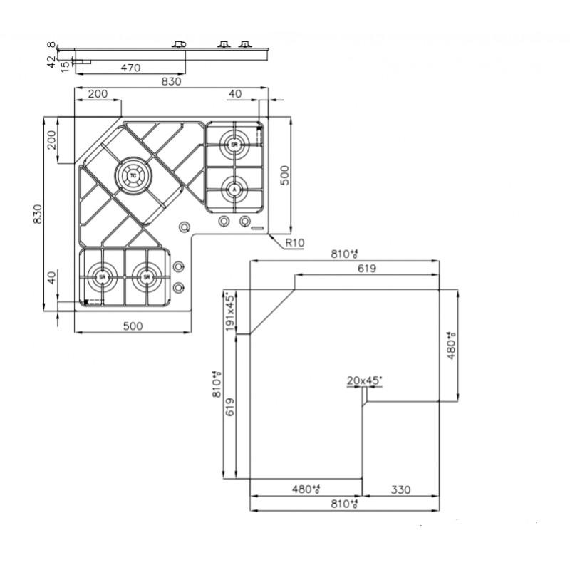 Foster piano cottura angolare da incasso 90 cm 7038052 | Fidea Lecce