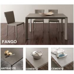 Tavolo allungabile con piano in ceramica con 4 sedie in ecopelle
