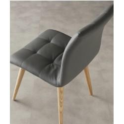 Sedie Finland | strutture legno naturale - sedile in ecopelle grigio titanio